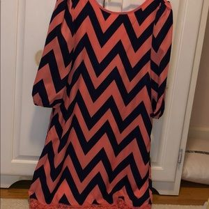 pink and blue chevron dress. swipe to see the back